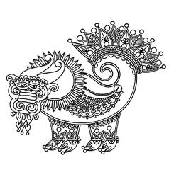 Sketch unique dragon vector