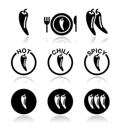Chili peppers hot and spicy food icons set vector