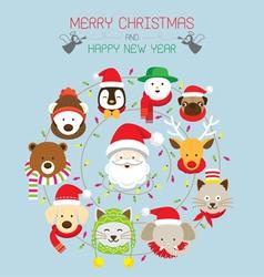 Christmas santa and animals vector