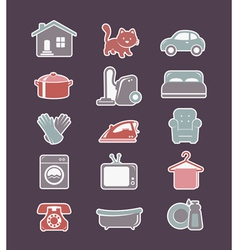 House cleaning and household appliances flat icons vector
