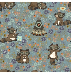 Seamless pattern with raccoons in cartoon vector