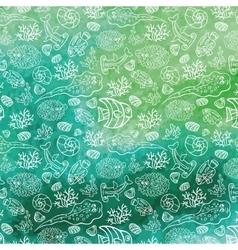 Summer backgroundfunny sea lifewatercolor stein vector