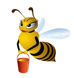 Cartoon bees gathering honey vector