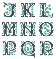 Vintage alphabet part 2 vector