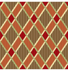 Rhombic tartan red and brown fabric seamless vector