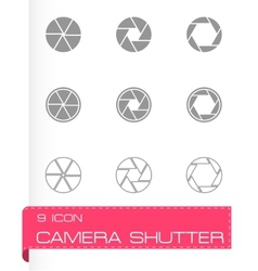 Black camera shutter icon set vector