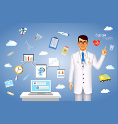 Digital health concept with medical icons vector