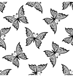 Outline flying butterflies seamless pattern vector