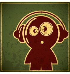 Funny character in headphones vector