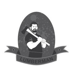 Stylish logo lumberjack with an ax vector