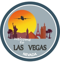 Designed travel label las vegas vector
