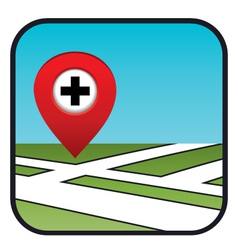 Street map icon with the pointer pharmacies vector