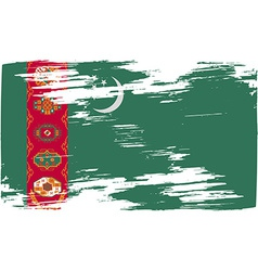 Flag of turkmenistan with old texture vector