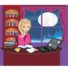 Girl doing homework vector