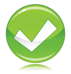 Tick button green vector