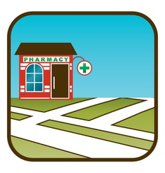 Icon of pharmacy with street map vector