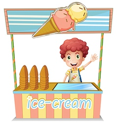 A boy selling ice cream vector