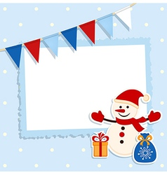 Christmas card with festive flags and snowman vector