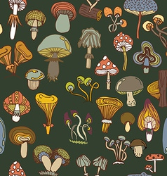 Seamless pattern of different mushrooms vector