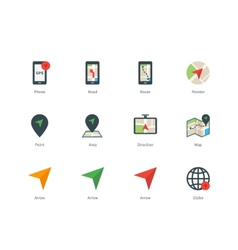 Navigator and gps color icons on white background vector
