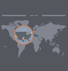 World map us location vector
