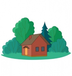 Small house with trees vector