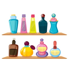 Wooden shelves with different perfumes vector