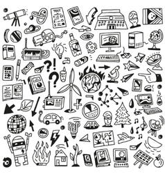 Ecology - big doodles set vector