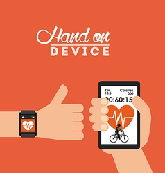 Hand on device vector