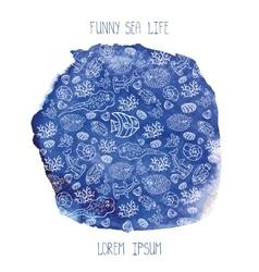Summer backgroundfunny sea lifewatercolor blue vector