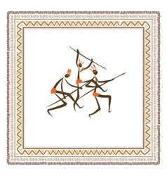 Ancient tribal people ethnic ornament frame for vector