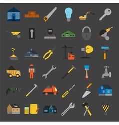 Set of house repair tools icons vector