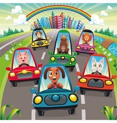 Traffic on the road vector