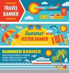 Summer travel - decorative bannrs vector