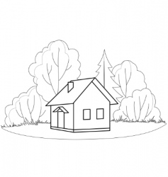 House and trees contours vector