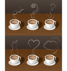 Coffee cup tea with smoke ideas concept vector