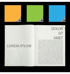 Blank pages inside of journal vector