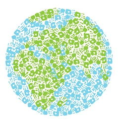 Earth globe made from handprints kids and parents vector
