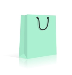 Blank paper shopping bag with rope handles mint vector