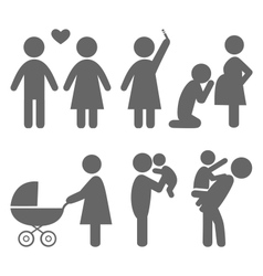 Family and baby flat icons isolated on white vector