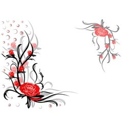 Floral swirl postcard with red roses vector