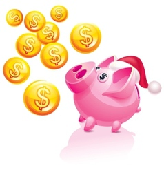 Christmas piggy bank vector