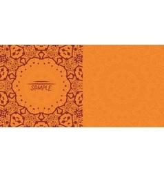 Henna orange antique banner template mehndi vector