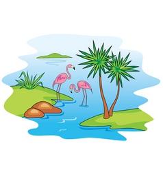 Pink flamingo vector