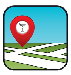Street map icon with the pointer bar vector