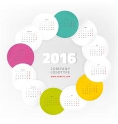 Year calendar 2016 vector