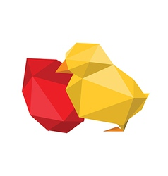 Origami chicken with red egg vector
