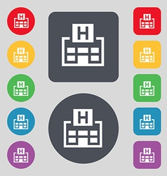 Hotkey icon sign a set of 12 colored buttons flat vector