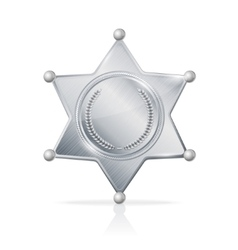 Silvery sheriff badge star empty vector