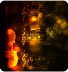 Vintage violin silhouette with note vector